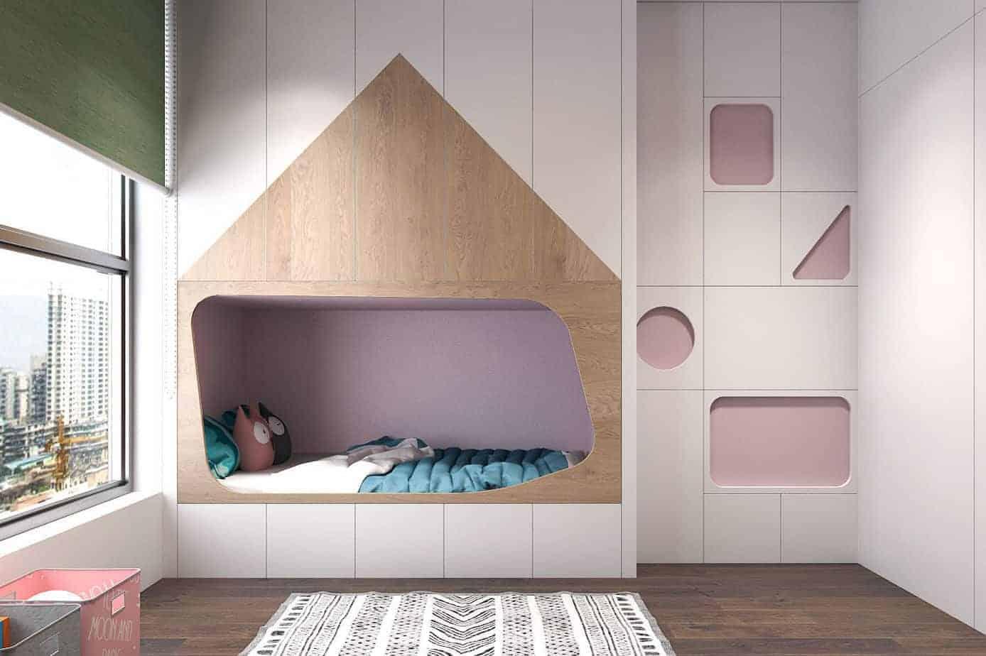 Phòng ngủ đẹp cho bé gái hướng nội, trầm lắng